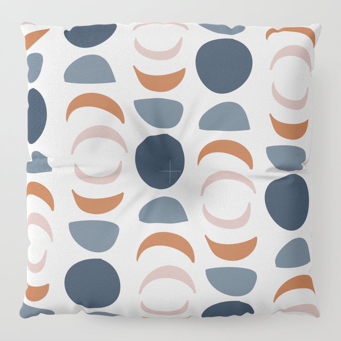 Moon Phases Pattern in blue, terracotta, pink Floor Pillow