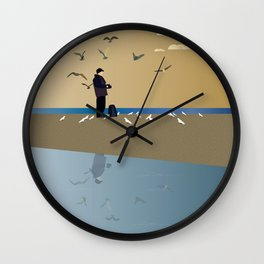 Photographer on the beach Wall Clock