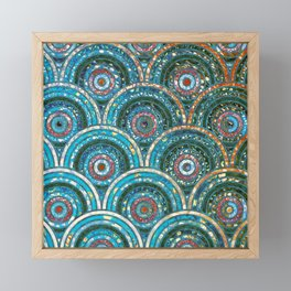 Aqua Teal Blue and Green Sparkling Faux Glitter Circles and Dots Framed Mini Art Print