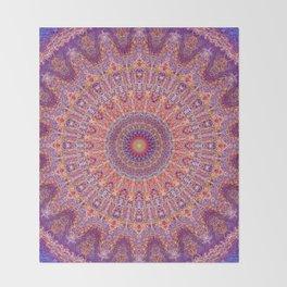 Purple Orange Red Burst Mandala 012018 Throw Blanket