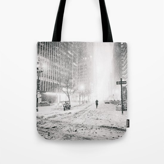 New York City Snow in Times Square Tote Bag