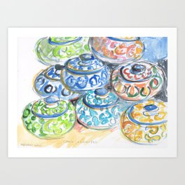 Brightly painted Moroccan bowls Art Print