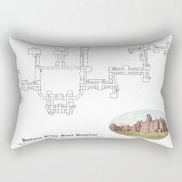 Hudson River State Hospital Blueprint Print Rectangular Pillow