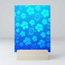 Blue Hawaiian Honu And Tropical Flowers Mini Art Print