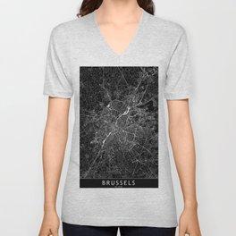Brussels Black Map Unisex V-Neck
