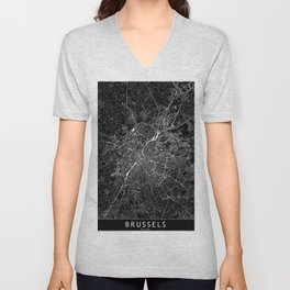 Brussels Black Map Unisex V-Neck