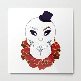 Halloween Skull in Top Hat Metal Print