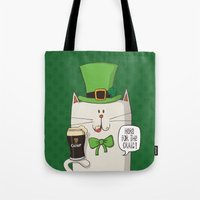 irish Tote Bags featuring Saint Patric's cat, Cat cartoon characters, Irish Cat cartoon, ZWD004 by ZeeWillDraw