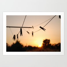 Swallows on a wire Art Print