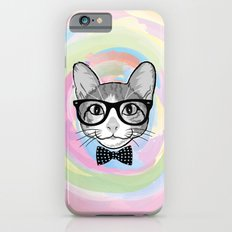 Black White Cat Hipster and the Watercolor Rainbow Circle Slim Case iPhone 6s
