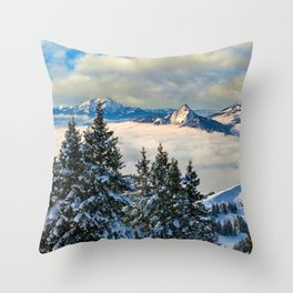 Sea of Fog atop the Swiss Alps Throw Pillow