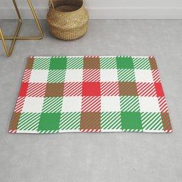 Green Red White Tartan Plaid Christmas Holiday Rug