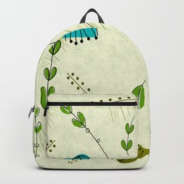 Mid-Century Modern Flower Clocks Backpack