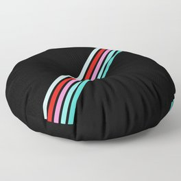 Badalisc - Thin Colorful Lines on Black Floor Pillow