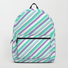 Deep Sea Green Turquoise Violet Inclined Stripes Backpack