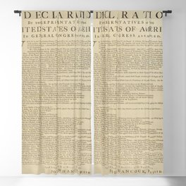 United States Declaration of Independence (Dunlap Broadside Print Copy, 1776) Blackout Curtain