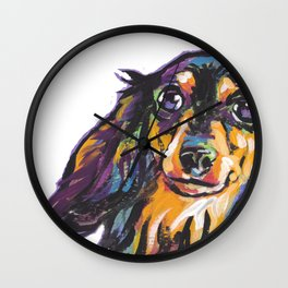 Longhaired Dachshund Fun Dog Portrait bright colorful Pop Art Painting by LEA Wall Clock