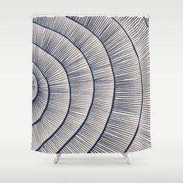 Abstract Coral in Navy Blue III Shower Curtain