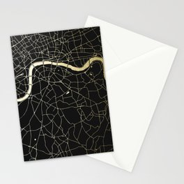 London Black on Gold Street Map Stationery Cards