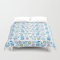puppies Duvet Covers featuring Puppies Rule Pattern by Planet Perfect