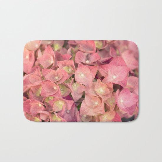 Pink hydrangea in LOVE - Flower floral Bath Mat