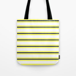 Nautical Yellow, White and Navy, Crisp and Clean Lines Tote Bag