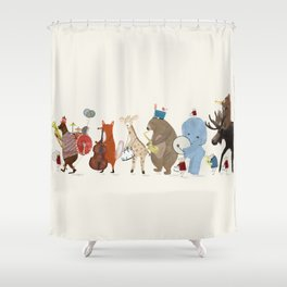 big little parade Shower Curtain