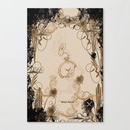 tick tock clock rabbit Canvas Print