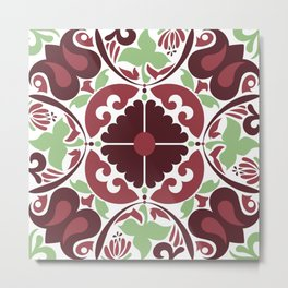 Mid Century Modern Flower Pattern Red and Green Metal Print