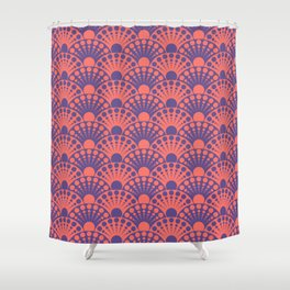 living coral and ultra violet art deco inspired fan pattern Shower Curtain