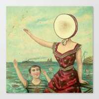 neutral milk hotel Canvas Prints featuring Neutral Milk Hotel - In The Aeroplane Over The Sea by NICEALB