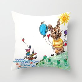 ::  Honey Rabbit on the Knoll :: Throw Pillow