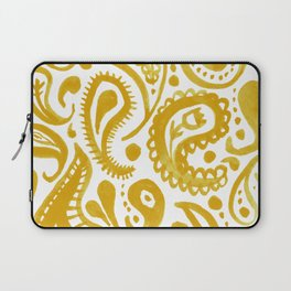 Handpainted Paisley Pattern Golden Yellow Color Laptop Sleeve