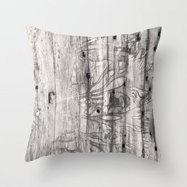 Vine Scars Wood Tree Trunk Pacific Northwest Rainforest Spooky Pattern Throw Pillow