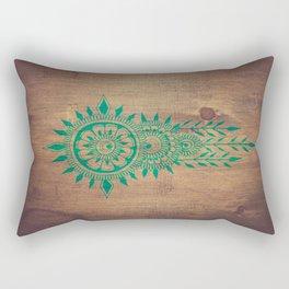 emerald green rustic mandala Rectangular Pillow