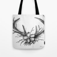 antlers Tote Bags featuring Antlers by Robyn Marshall