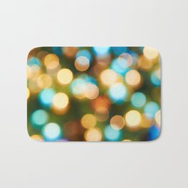Abstract holiday Christmas background with blue and yellow Bath Mat