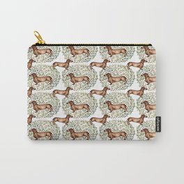 Dachshund Sausage Dog Print Botanical Carry-All Pouch