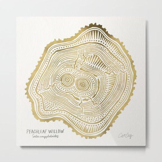 Peachleaf Willow – Gold Tree Rings Metal Print