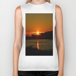 Sunset Over Columbia River At Astoria Harbor Biker Tank