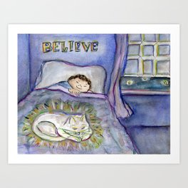 Believe Love is Forever ~ Spirit Cat Pet Art Painting Art Print