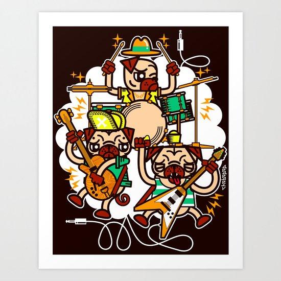 Pug'N'Play Art Print