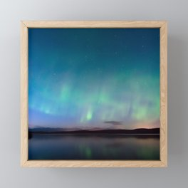 Norway Photography - Colorful Northern Lights Over A Lake Framed Mini Art Print