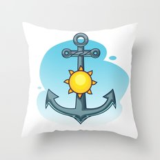 Anchor and Sun - Summer Illustration Throw Pillow