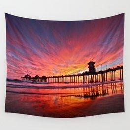 Sunset Huntington Beach Pier CA   Wall Tapestry