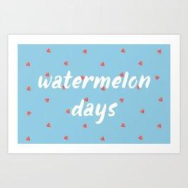 Watermelon Days Art Print