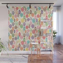 Custom Multicolor Leaves Pattern Wall Mural