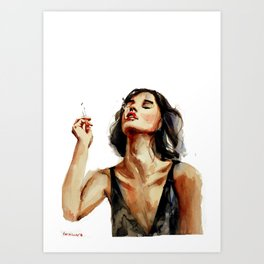 Smoking lady with cigaret with red lipstick on a lips, white background Art Print