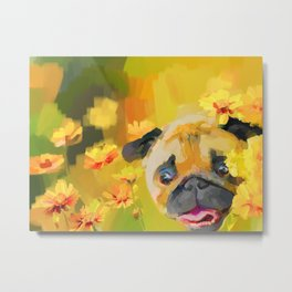 Pug in Daisies Metal Print