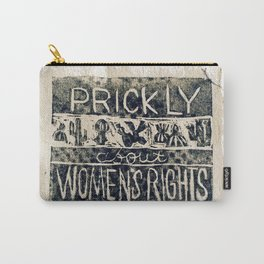 Prickly About Women's Rights, block print, cactus art, cacti Carry-All Pouch